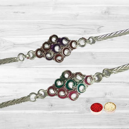 Set Of Two Silver Rakhis