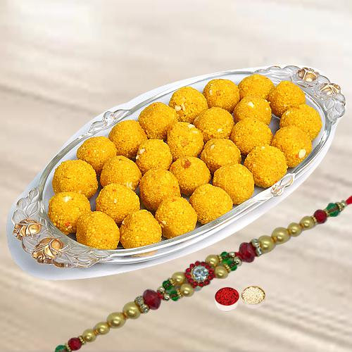 Motichur Ladoo with Free 1 Rakhi and Roli Tilak Chawal