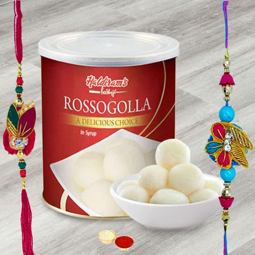 Tempting Haldiram Rosogollas with 2 Rakhis and Roli Tilak Chawal