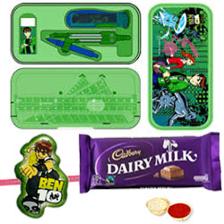 CN Ben 10 Geometry Set Case for Boys with 1 Ben 10 Rakhi, 1 Cadbury Dairy Milk, Roli, Tilak and Chawal