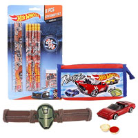 Hot Wheels Stationery Set with a zipper case with Hot Wheel Car and Iron Man Rakhi and Roli, Tilak and Chawal.
