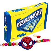 Delightful Crossword Board Game with Spider Man Rakhi and Roli, Tilak and Chawal.
