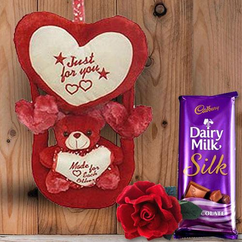 Soft Love Teddy with Velvet Red Rose