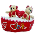 Send Cute Romantic Teddy Bears with Heart to Devangere
