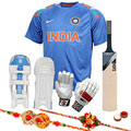 Outstanding Virat Kohli Batting Kit with Free Rakhi and Roli Tilak Chawal