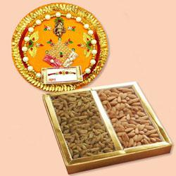 Wonderful Pooja Thali with Assorted Dry Fruits