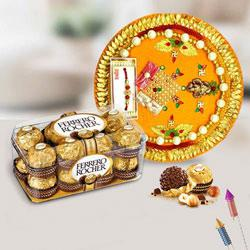 Remarkable Combo of Ferrero Rocher with Pooja Thali
