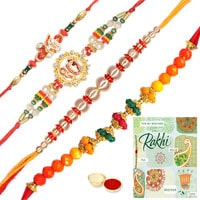 Beautiful Set of Rakhis with Rakhi Card