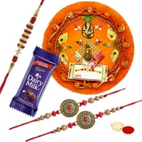 Rakhi Thali, 1 Dairy Milk with 3 Rakhi