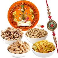 One Rakhi with Thali and Almonds, Raisen, Cashews & Pistas