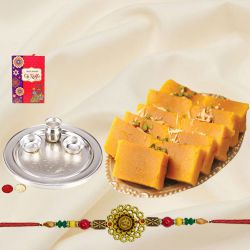 Rakhi with Mysore pak & Silver Plated Thali