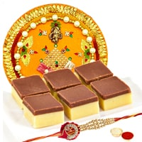 Irresistible Gift of Chocolate barfi qty 500gms with Rakhi Thali and Rakhi