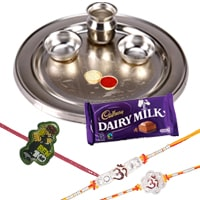 Silver Plated Rakhi Thali with 2 Om Rakhi, 1 Kids Rakhi and 1 Dairy Milk 95 gr