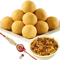 Rakhi With Mix Namkeen And Besan ladoo