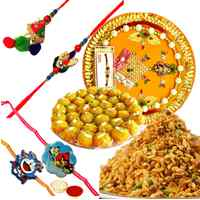 Ecstatic Combo of Boondi Ladoo, Mixture, Rakhi Thali, 1 Bhaiya Bhabhi Rakhi Set and 2 Kids Rakhi