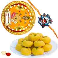 Mind-Blowing Rakhi Special Gift of Kesaria Peda, One Kids Rakhi and One Rakhi Thali