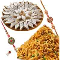 Delectable Gift of Kaju Katli, Masala Peanuts with 2 Rakhis