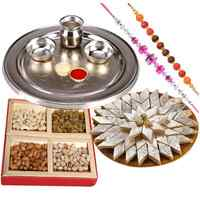 Assorted Dry Fruits , Fantastic Silver plated Thali, Kaju Katli along  with 2 Free Rakhi, Roli Tika and Chawal