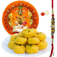Free Rakhi with Delicious Kesar Pedas and Designer Pooja Thali
