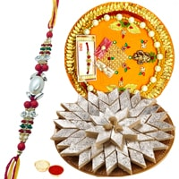 Delicious Kaju Katli and Rakhi Thali