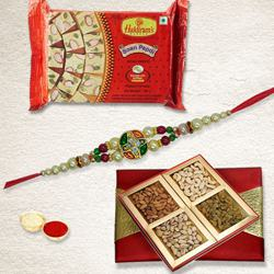 Ethnic Rakhi with Dry Fruits N Haldirams Soan Papdi