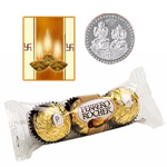 3 Pcs. Ferrero Rocher Chocolates with free Siver Plated Coin and Diwali Card.