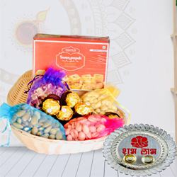 Delightful Gift of Dry Fruits, Sweets, Chocolates with Pooja Thali<br>