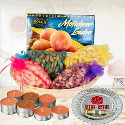 Exquisite Gift Pack of Dry-fruits with Sweets, Pooja Thali N Candles