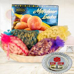 Remarkable Gift Pack of Dry-fruits with Sweets N Pooja Thali
