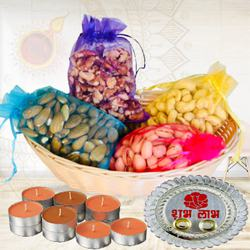 Magical Combo of Dry Fruit Assortments with Candles N Pooja Thali