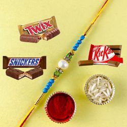 Dazzling Collection of Pearl Rakhi with Kitkat Chocolates