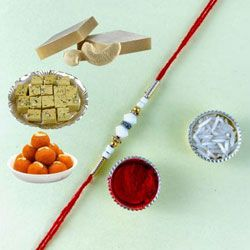 Lovely Gift of Rakhi with Assorted Mithai