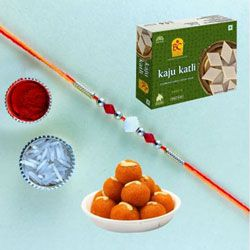 Breathtaking Combo of Rakhi with Assorted Mithais