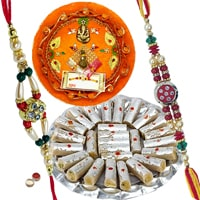 Rakhi Thali with Rakhis, Kaju Pista Roll and Roli Tikka