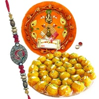 Fancy Beaded Rakhis with Thali and Sweet Paradise
