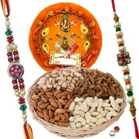 Rakhi Thali with Rakhis and Dry Fruits, Roli Tikka