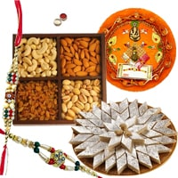 Rakhi Thali with Rakhis, Kaju Katli and Dry Fruits