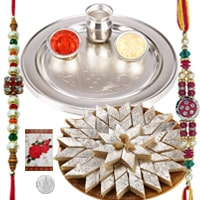 Rakhi Thali with Rakhis, Kaju Katli and Roli Tikka