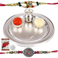 Rakhi Thali with Rakhis Hamper