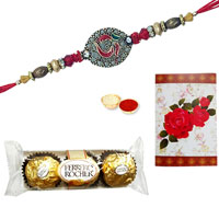 2 Designer Ethnic Rakhi with 3 Pcs. Ferrero Rocher Chocolates