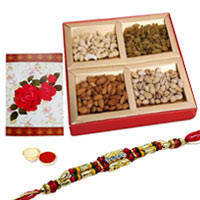 One or More Designer Ethnic Rakhi with with Dry fruits�