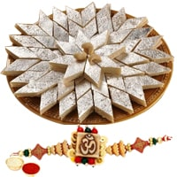 One or More Designer Ethnic Rakhi with 250 Gms. Kaju Katli