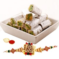 One or More Designer Ethnic Rakhi with 250 Gms. Kaju Pista Roll