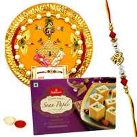 Rakhi Thali with One or More Designer Ethnic Rakhi and Haldirams Soan Papri