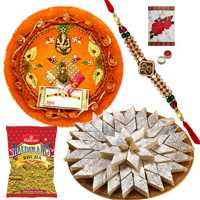 Rakhi Thali with One or More Designer Ethnic Rakhi and Kaju Katli n 200 Gms. Haldirams Bhujia