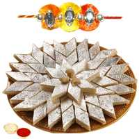 One or More Jewelled Rakhi with 250 Gms. Kaju Katli