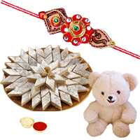 8 Inch Teddy Bear with 500 Gms. Kaju Katli n Rakhis