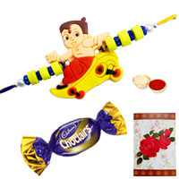 Pretty Tweety Pie Rakhi, a Chocolate and a Greetings Card