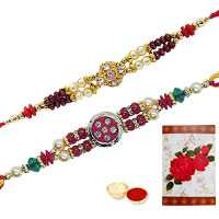 2 Jeweled Rakhi with Roli Tika