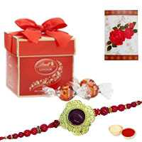 1 designer rakhi with 2pc Lindt chocolate
